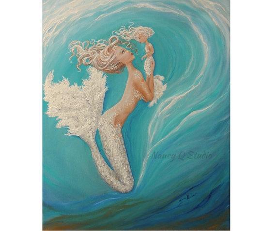 Mother Daughter Mermaid Painting Print Teal Art