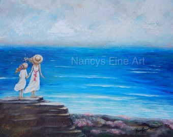 Original girls on beach painting, sisters wall art, granddaughters coastal artwork by Nancy Quiaoit, 35% off of original painting.