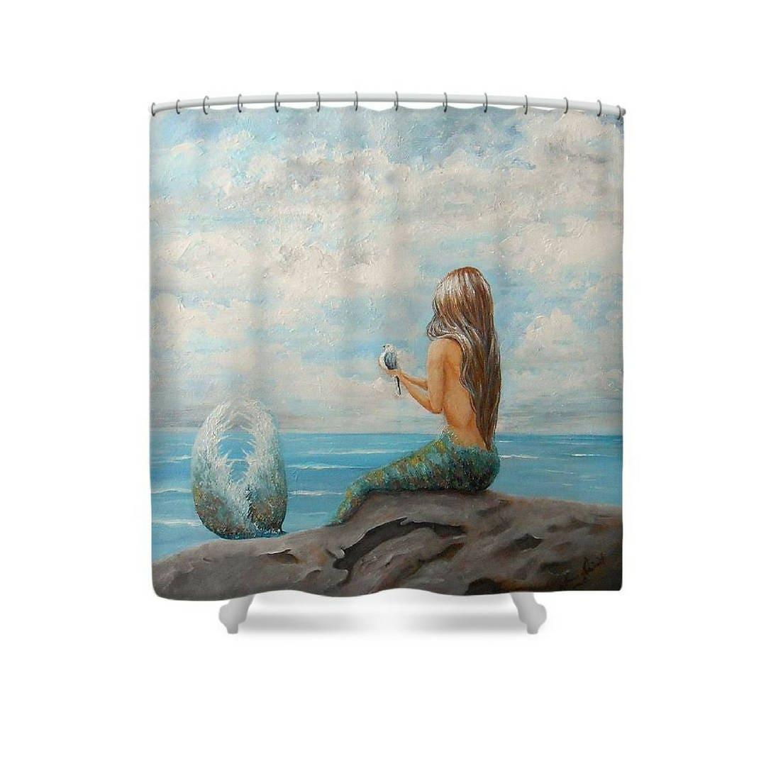 Mermaid Shower Curtain Mermaid Bathroom Accessories Mermaid Tub Curtain