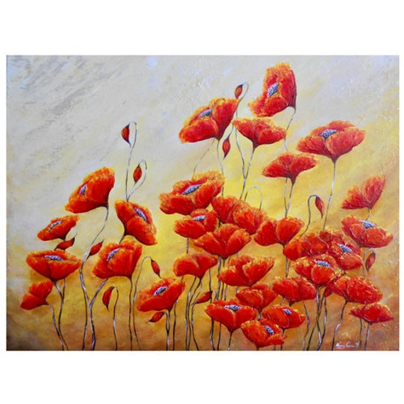 Red poppy art modern poppy wall art poppies in a field | Etsy