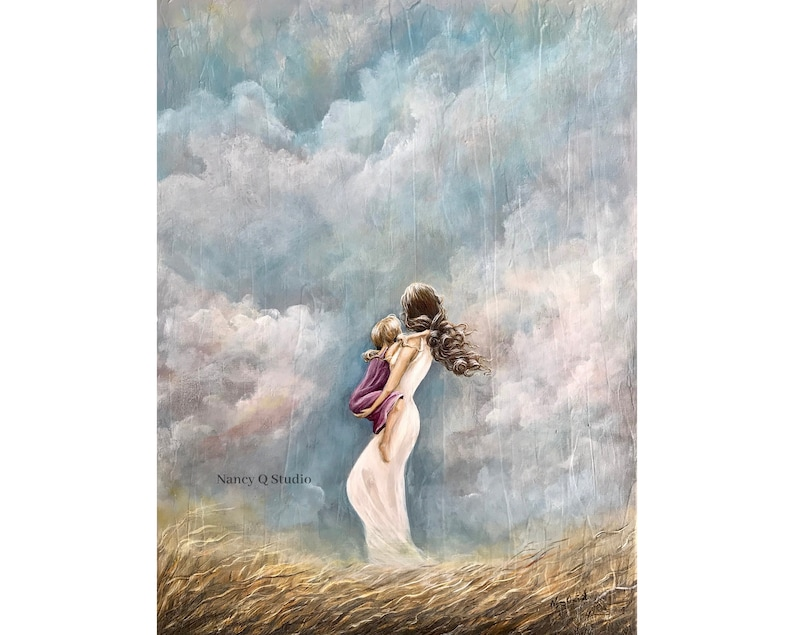Mother Daughter Art cloud print mom with child painting image 0
