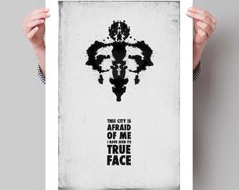 watchmen inspired dr manhattan minimalist movie poster print etsy