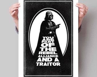 "STAR WARS Inspired Darth Vader Minimalist Movie Poster Print - 13""x19"" (33x48 cm)"