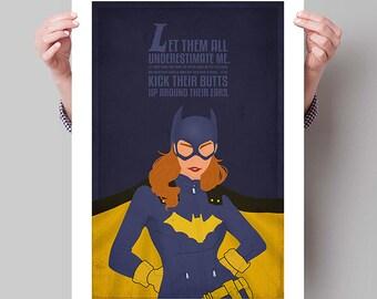 """BATMAN Inspired Batgirl Minimalist Poster Print - 13""""x19"""" (33x48 cm)"""