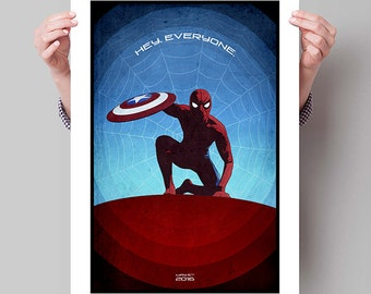 "SPIDER-MAN Inspired Captain America Civil War Minimalist Movie Poster Print - 13""x19"" (33x48 cm)"