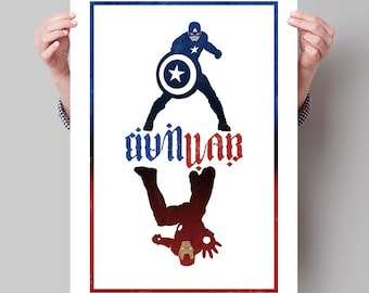 "CAPTAIN AMERICA Civil War Inspired Cap & Iron Man Minimalist Movie Poster Print - 13""x19"" (33x48 cm)"