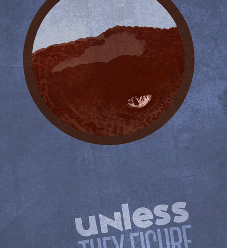 13x19 JURASSIC PARK Inspired Raptor Minimalist Movie Poster Print 33x48 cm