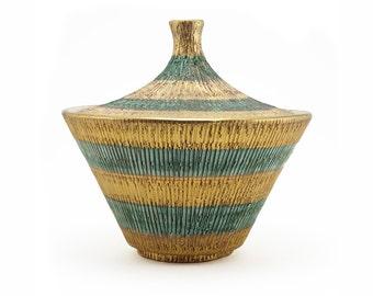 Bitossi Seta covered jar, Aldo Londi design, mid century lines, gold and turquoise, Italy, c.1957