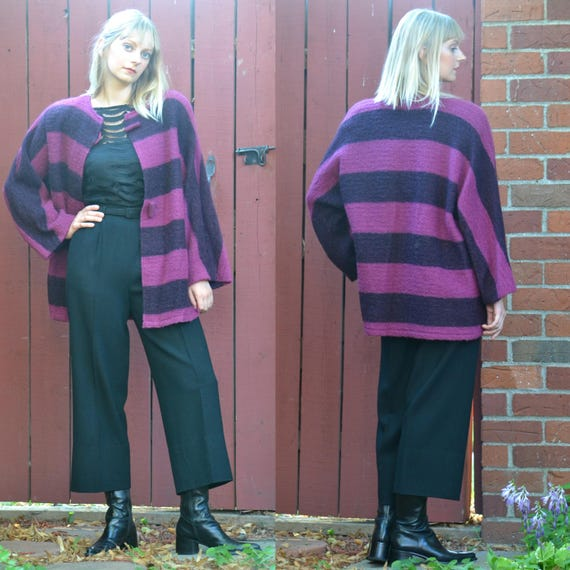vintage 80s MOHAIR Sweater Coat | Purple Stripe Mo
