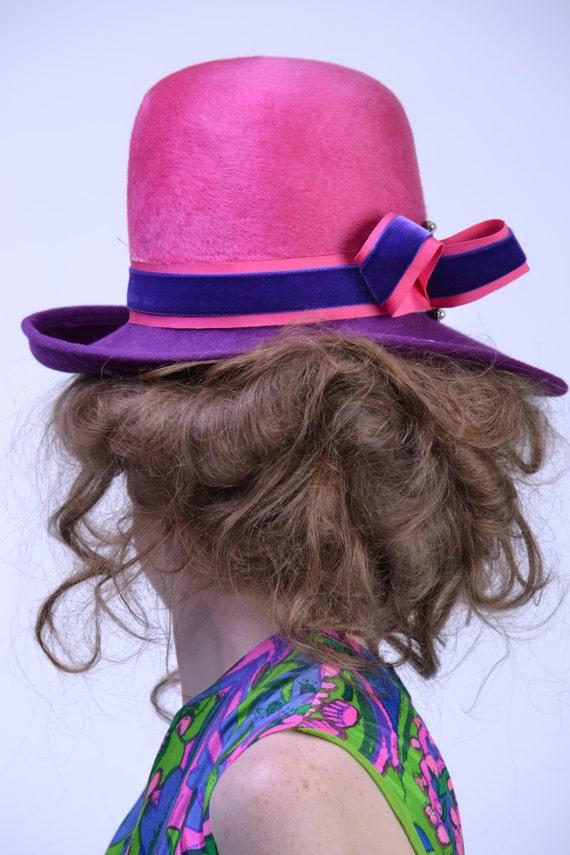 88f5a918371 vintage 70s MOD Wide Brim Hat Pink Purple Fedora Pharrell