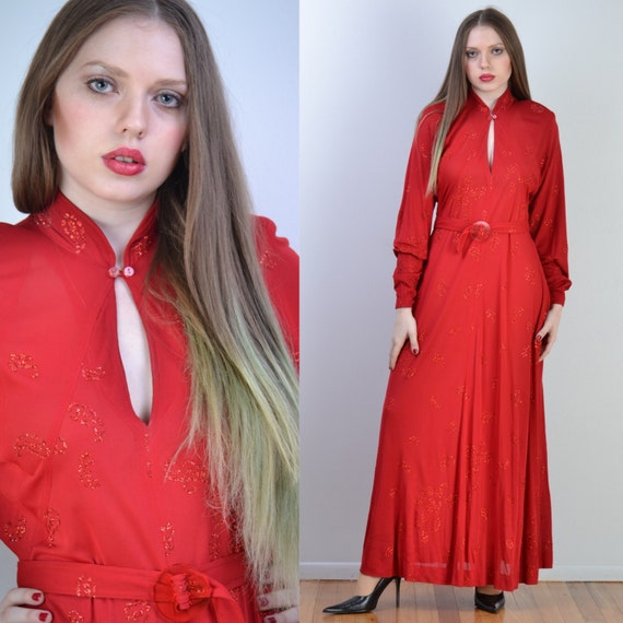 vintage 70s JEAN MUIR Maxi Dress | Red Paisley Gli