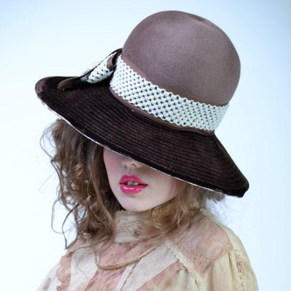 bcdcb19875a vintage 70s Chocolate Velvet WIDE BRIM Hat Brown Floppy