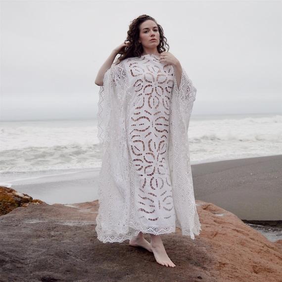 Wedding Wedding Lace CROCHET White Dress Styling DRESS Crochet Boho Caftan Maxi 60s Modest vintage pwvqCgW