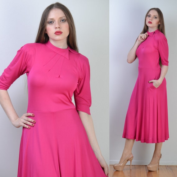 vintage 70s JEAN MUIR Maxi Dress | Hot Pink Rayon