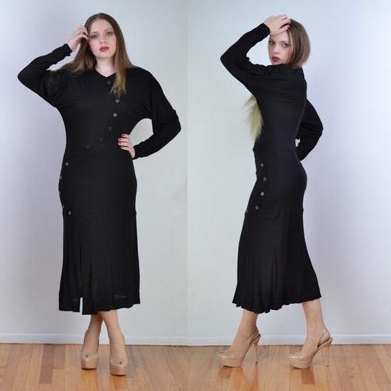 vintage 70s JEAN MUIR Maxi Dress | Black Asymmetri