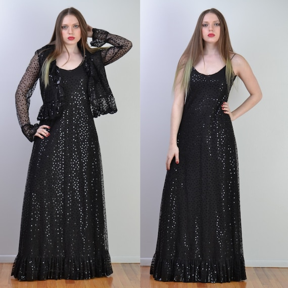 vintage 70s RUBEN PANIS Sequin Dress | Black Sequi