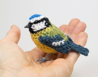 Bluetit realistic British bird fibre art sculpture