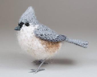 Tufted titmouse - crochet bird North American bird sculpture