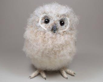 Baby Tawny Owl realistic fibre art bird sculpture