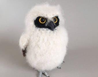 Baby Spectacled Owl realistic fibre art bird sculpture
