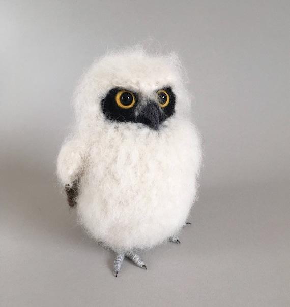 Baby Spectacled Owl Realistic Fibre Art Bird Sculpture Etsy