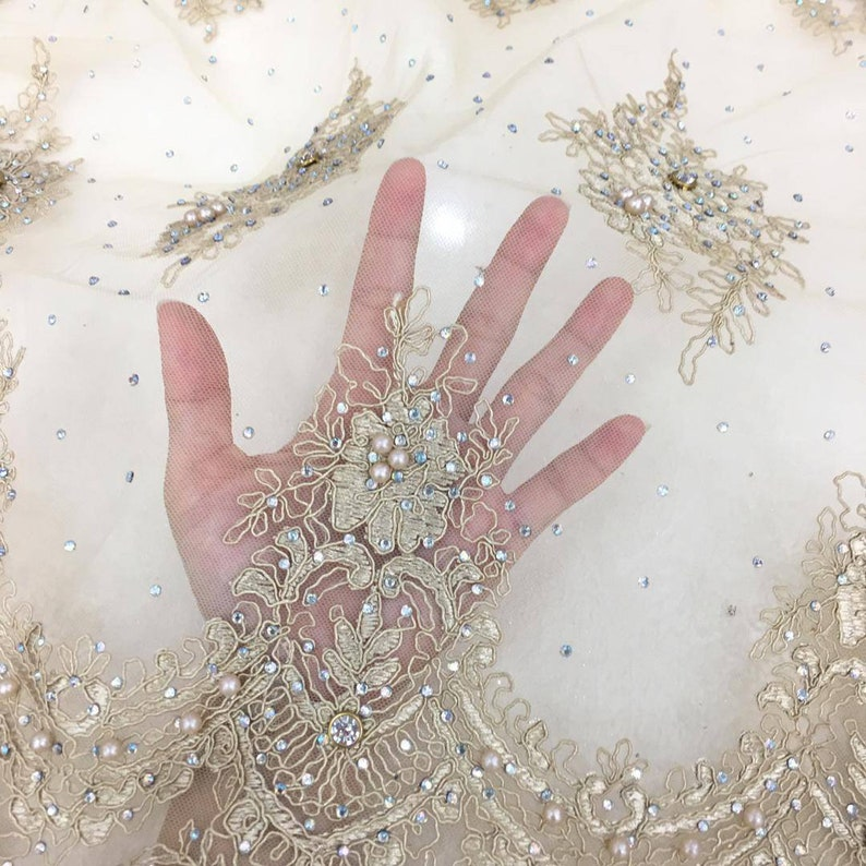 Gold color fabric Champagne lace embroidery beading
