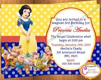 image regarding Snow White Invitations Printable called Snow white invitation Etsy