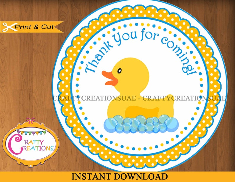 photograph relating to Rubber Ducky Printable titled Immediate Down load - Rubber Duck - Printable Thank Yourself Desire Tag- Sticker - labels - Rubber Ducky - Desire Tag - Birthday - Bash - Little one Shower