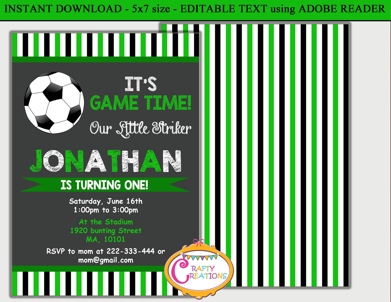 Soccer Party Invite Soccer Birthday Invitation Football Etsy