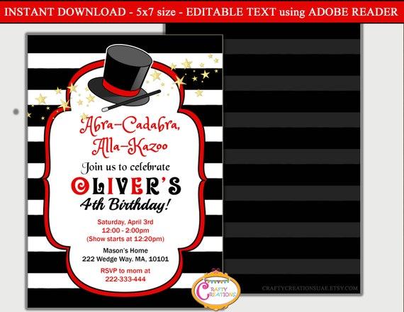 magic party invitation magic birthday invitation magic etsy