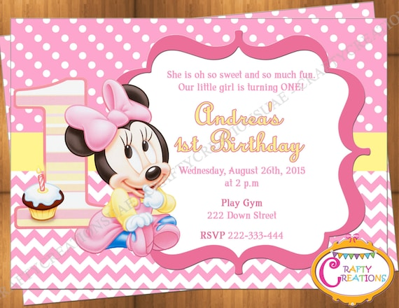 Baby Minnie Mouse First Birthday Invitation Minnie Mouse 1st Etsy