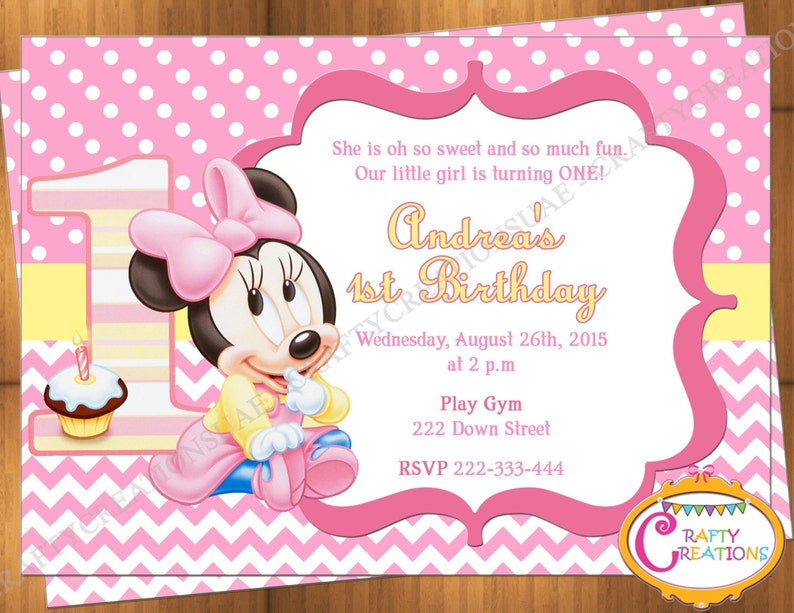 Baby Minnie Mouse First Birthday Invitation 1st