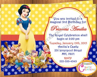 Snow White Invitation - Snow White Birthday Party Invitation - Snow White Seven Dwarfs Invite - Snow White Printable - CraftyCreationsUAE