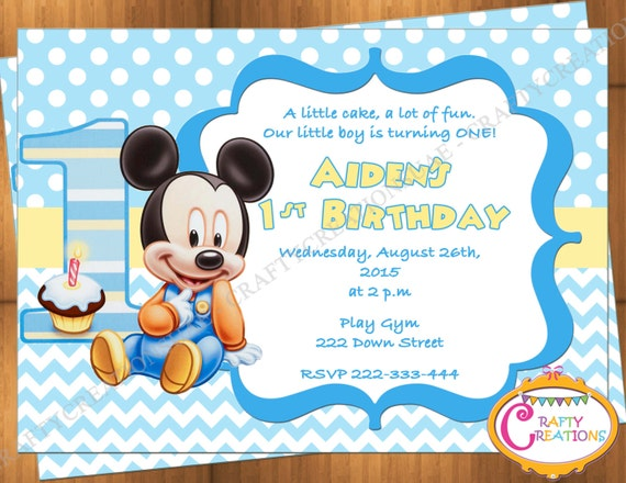 Baby Mickey Mouse First Birthday Invitation Mickey Mouse 1st Etsy