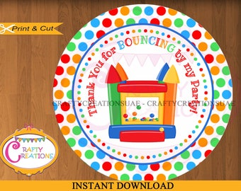 Bounce House Favor Tag Label -Favor Tags - Bouncing Castle Birthday Party Treat Bag Label Sticker Circle - INSTANT DOWNLOAD - CraftyUAE