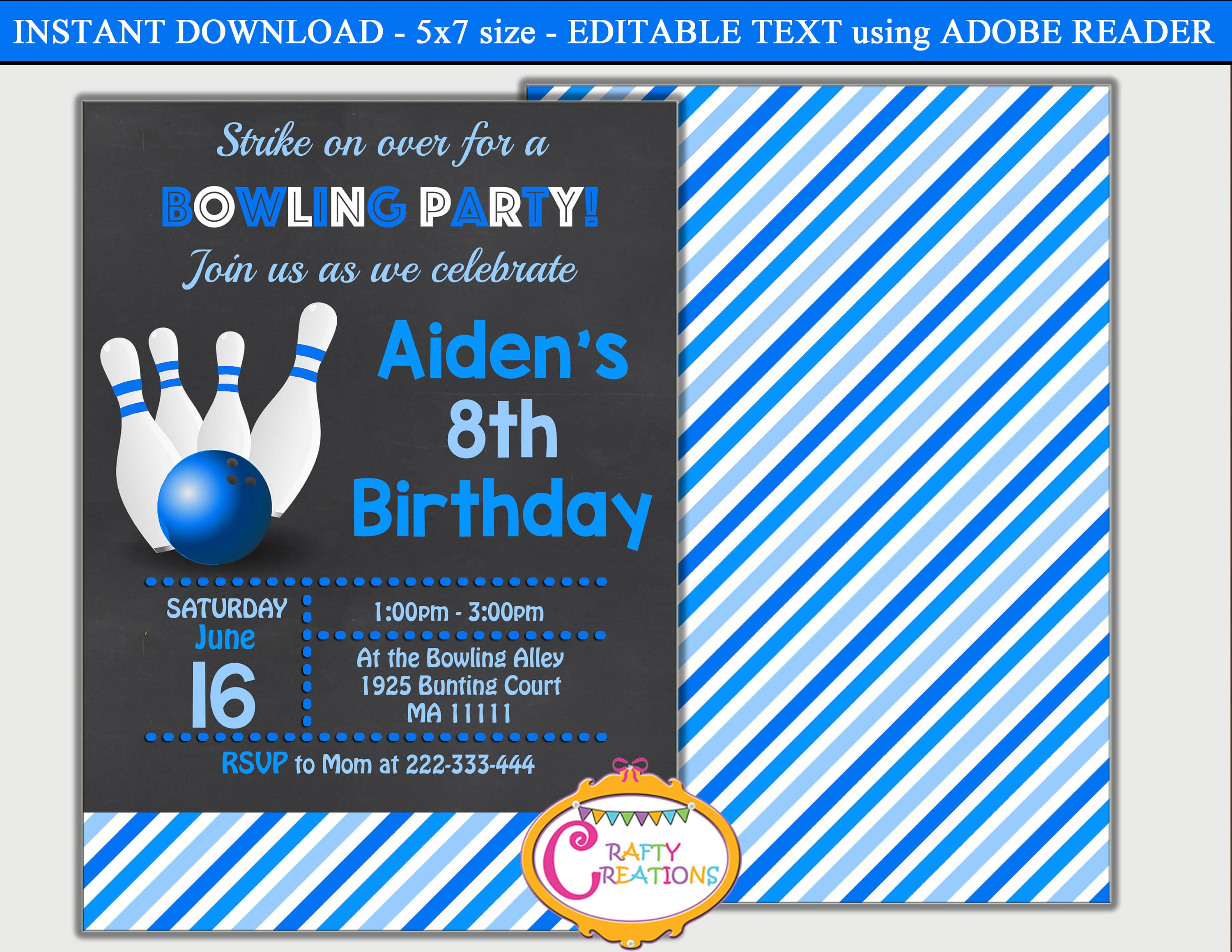 Editable Bowling Birthday Invitation Boy
