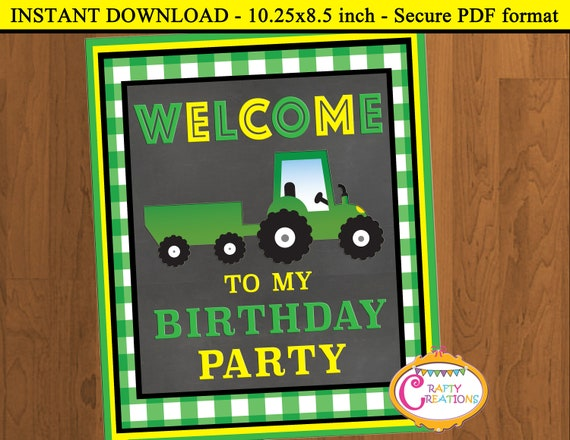 INSTANT DOWNLOAD - Tractor Welcome Sign - Tractor Birthday Party - Tractor  Party Sign - Green Tractor Party Decoration - PRINTABLE