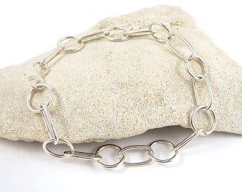 Link Silver Bracelet Oval and Round Links .925 Sterling Sliver Link Bracelet with Sterling Silver S Clasp