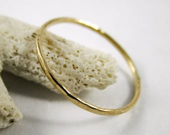 Solid 9ct Gold Stackable Ring Hammered 18g Yellow Gold  Minimalist Ring Stacking Ring Dainty Ring Stacking Ring