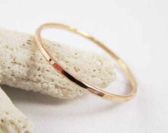 Rose Gold Stackable Ring Hammered 14k 18g Rose Gold Filled Minimalist Ring Stacking Ring Dainty Ring Stacking Ring