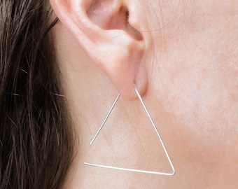 Triangle Threader Earrings Sterling Silver Earrings Gold Earring Thin Earring Wire Earring Minimalist Earrings Modern Earring Simple Earring