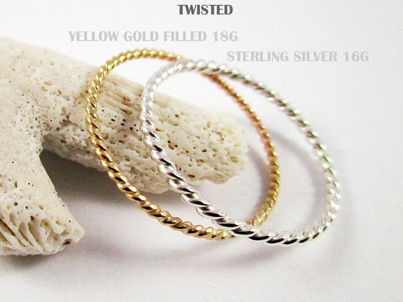 Set Stacking Ring Sterling Silver Rings Yellow Gold Filled Twisted Ring Gold Ring Great Stackable Ring Stacking Ring Thin Rings 5 rings