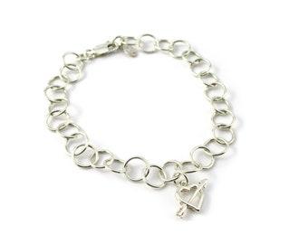 Sterling Silver Heart Charm Bracelet, Heart with Arrow Charm Bracelet, Silver Charm Bracelet, Silver Heart & Arrow Bracelet