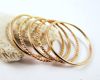 Ring Set Stackable (5 rings) 9ct Yellow Gold Ring, 9ct Twisted Ring, Solid Gold Ring, Great Gift, Stacking Rings, Thin Rings