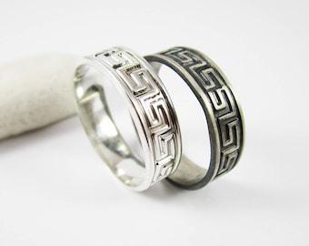 Greek Key Ring (1) 5 mm .925 Sterling Silver Band Greek Key Pattern Silver Ring Silver Band  Mens Ring or Unisex Ring