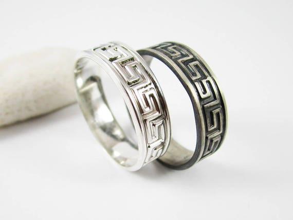 Greek key ring. Hand made two tone sterling silver reversible