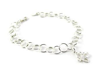 ButterFly Charm Bracelet, Sterling Silver Bracelet, ButterFly Charm, Linked Bracelet, Sterling Charm Bracelet,Oval link Bracelet