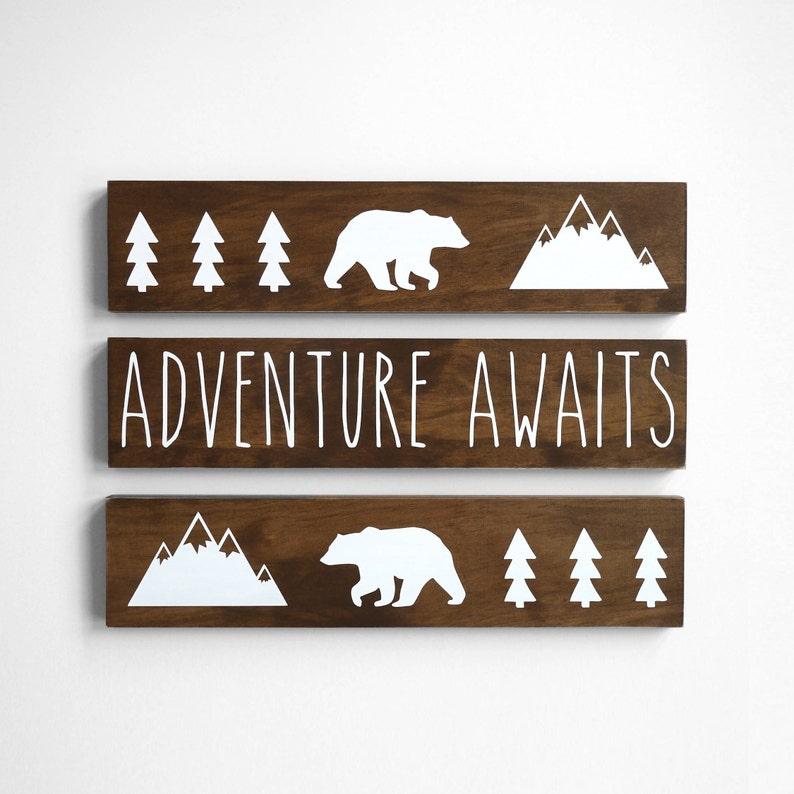 Adventure Awaits Wood Sign Woodland Nursery Decor Boy image 0