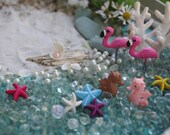 Miniature Beach Kit( 2) DIY Fairy Garden Beach Starfish Flamingos Seahorses Seashells Pearls Bubbles