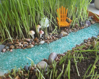Bubbling River or River with Pond Miniature Garden Fairy Garden Faerie Garden Fairy River Gnome